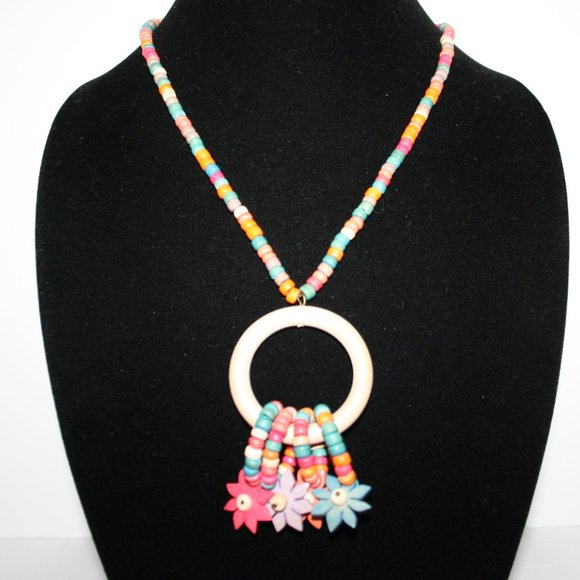 """Colorful wooden flower bead necklace 23"""""""